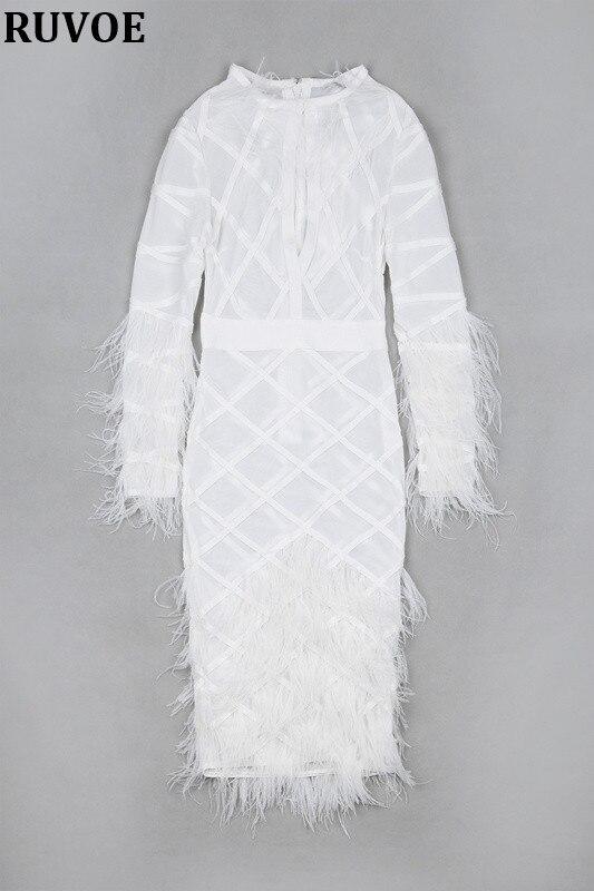 Новая мода, высокое качество, зима 2019, женское белое платье, длинный рукав, перья, круглый ворот, Бандажное платье, вечернее платье - 5