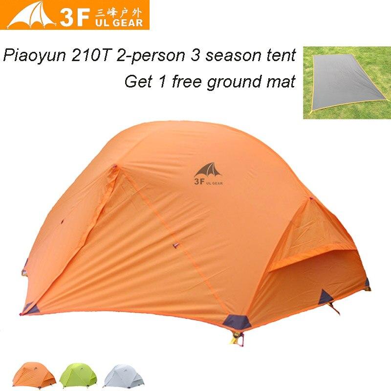3F UL Gear Piaoyun 210T ultra-light 2-person 3-Seasons PU Coating Aluminium Poles Camping Tent with Mat