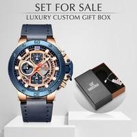 NAVIFORCE Mannen Horloges Top Merk Luxe Lederen Quartz Datum Klok Met box set voor koop Mannelijke Militaire Waterdichte Pols horloge-in Quartz Horloges van Horloges op