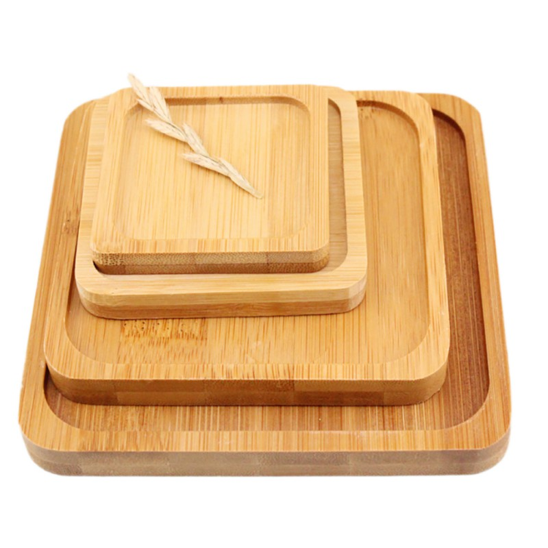 1 pc Square Bamboo Flower Pot Tray