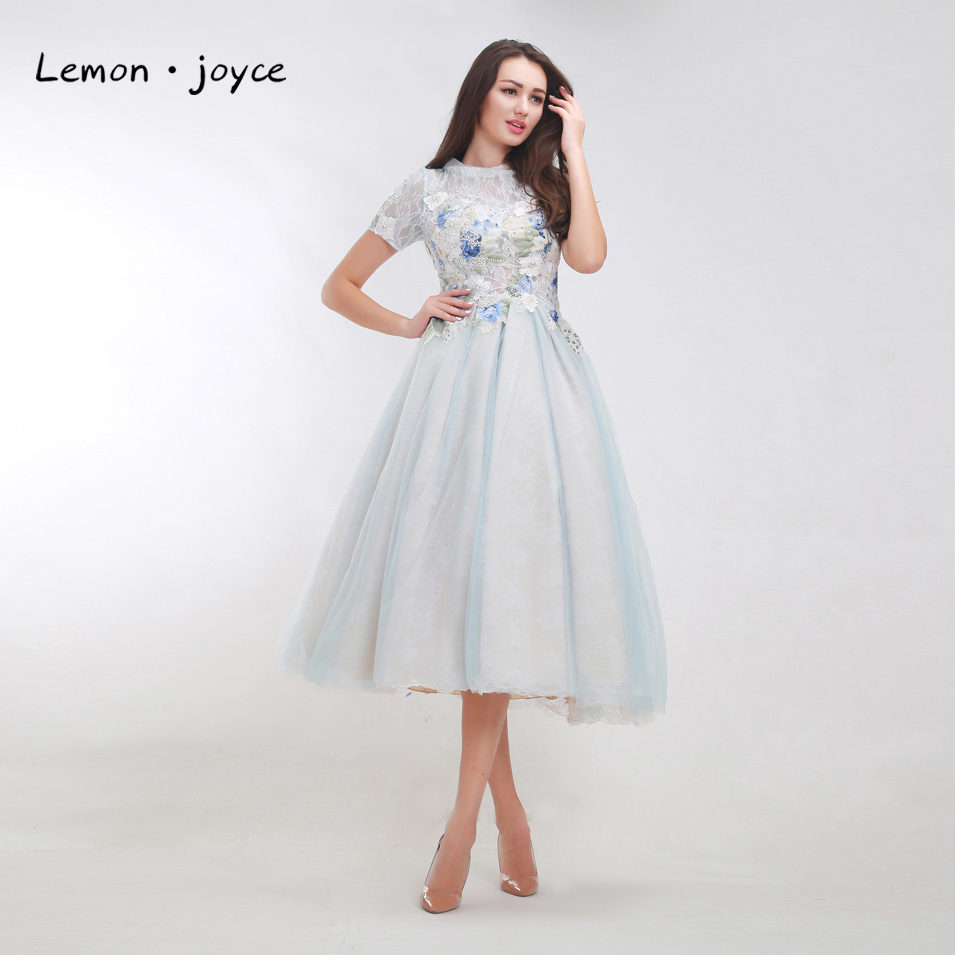 US $84.5 35% OFF Vintage Prom Dresses with Short Sleeves 2019 Elegant  Appliques See Through Tea Length Lace Tulle A line Evening Dress Plus  Size-in ...