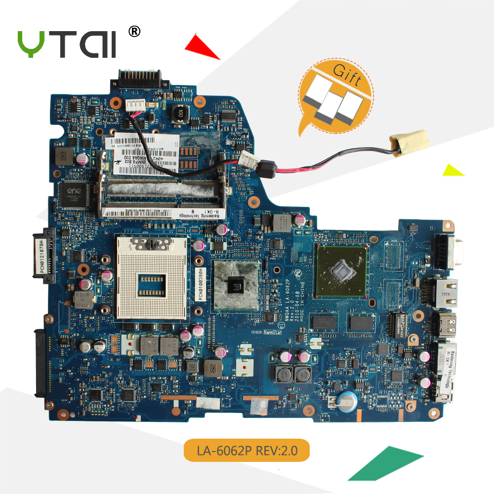 YTAI NWQAA LA-6062P for Toshiba Satellite A660 A665 Laptop Motherboard DDR3 HM55 LA-6062P REV2.0 K000105880 Mainboard 100% test nokotion la 6062p rev 2 0 k000104430 for toshiba satellite a660 a665 laptop motherboard hm55 geforce gt330m