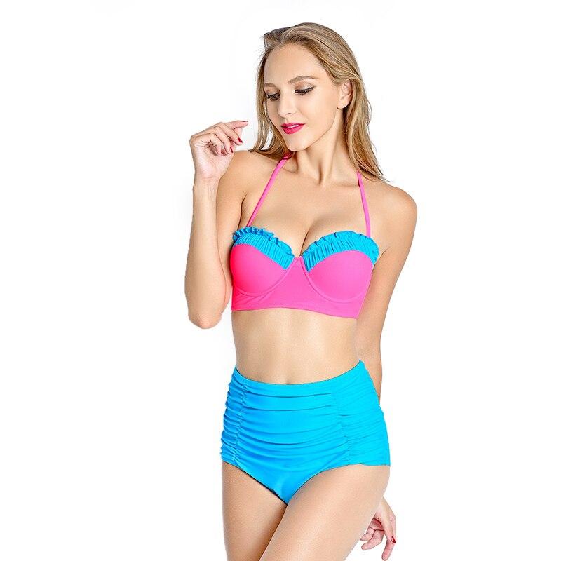 2016 Sexy High Neck Bikini Bandage Swimwear Cut Out Swimsuit Retro Halter Bikini Set Brazilian Printed Summer Beach Suit solid black bathing suit high neck padded hollow out halter bikini sets crochet swimsuit cut out bandage swimwear biquinis 1958