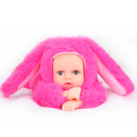Reborn Baby Rabbit Bear Plush Doll Toys 25CM Open Eyes Cute Baby Dolls With Children Sleeping