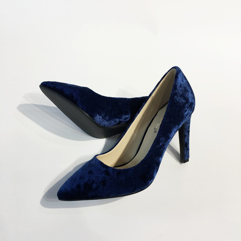 116f1cc3023a HANSCHIC 2017 New Arrival Floral Dark Navy Blue Retro Slip on Ladies Womens  High Spike Heels Pumps Shoes for Women 1066 3-in Women s Pumps from Shoes  on ...