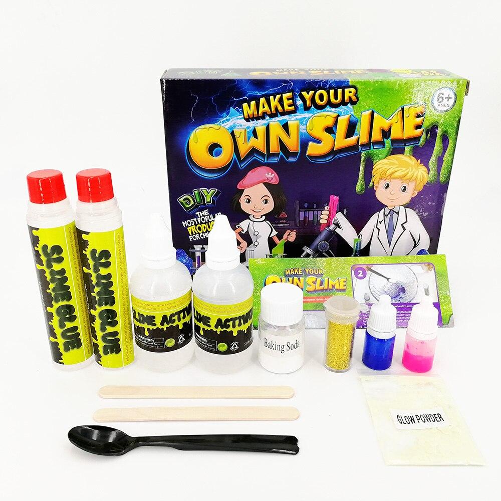 2 farben DIY Schleim Kit Flauschigen Kristall Gliter Pulver Kleber Spielen Spiel für Kinder Spielzeug Erwachsene Stressabbau Kristall Schlamm schleim Geschenk