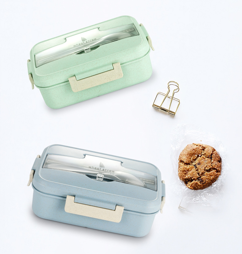 TUUTH Microwave Lunch Box Wheat Straw Dinnerware Food Storage Container Children Kids School Office Portable Bento Box B9