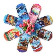 6 пар высокого Качественный хлопок 3D для девочек с принтом с героями мультфильмов, носки детские носки большая детская На возраст от 2-10 л. Old School, носки по щиколотку, розового и синего цвета