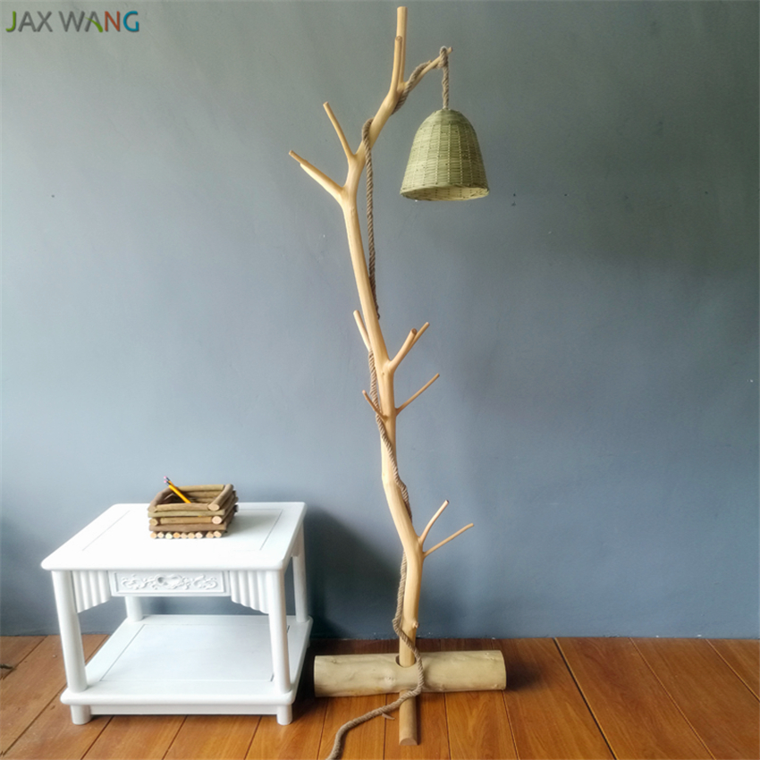 Original Ecological Log Wood Floor Lamp Japanese Study Lamp Branch