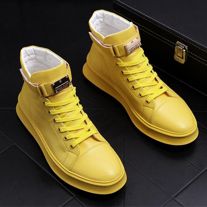 Stephoes ชายแฟชั่น High Top รองเท้าชายหนังโลหะ Hook & Loop ยอดนิยมผู้ชายรองเท้าแพลตฟอร์ม Hip Hop zapatos-ใน รองเท้าลำลองของผู้ชาย จาก รองเท้า บน   1
