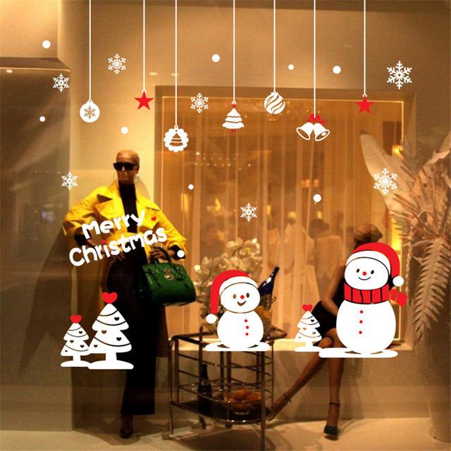 fashion christmas decoration glass sticker christmas snowman design removable carved decal for kid room wall store