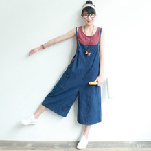 2017 New Spring Ye-pong Mun Vintage Demin Jumpsuits Women Loose Wide Leg Jean Bib Pants Ladies Capri Pants Overalls M-XL