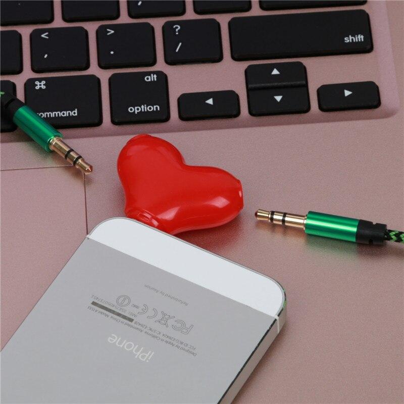 Mini lindo 1 a 2 en forma de corazón 3.5 Jack aux cable de audio del auricular música compartir divisor para Apple iPhone 6 6 s iPad iPod MP3 altavoz
