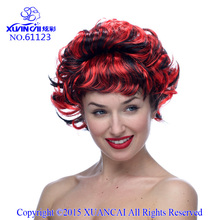 Synthetic Free shipping Cheap Synthetic Hair Fashion Costume Black Red Short Curly Party Wigs For Halloween