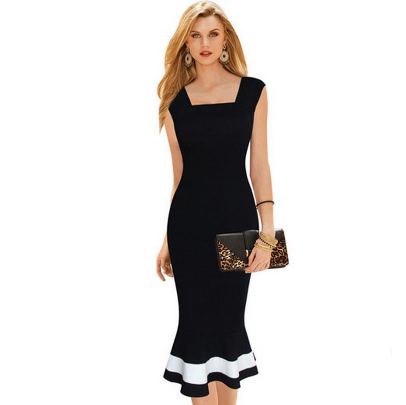 Summer OL V Back Dresses Womens Elegant Square Neck Colorblock Mermaid Wear Work Office Party Sheath