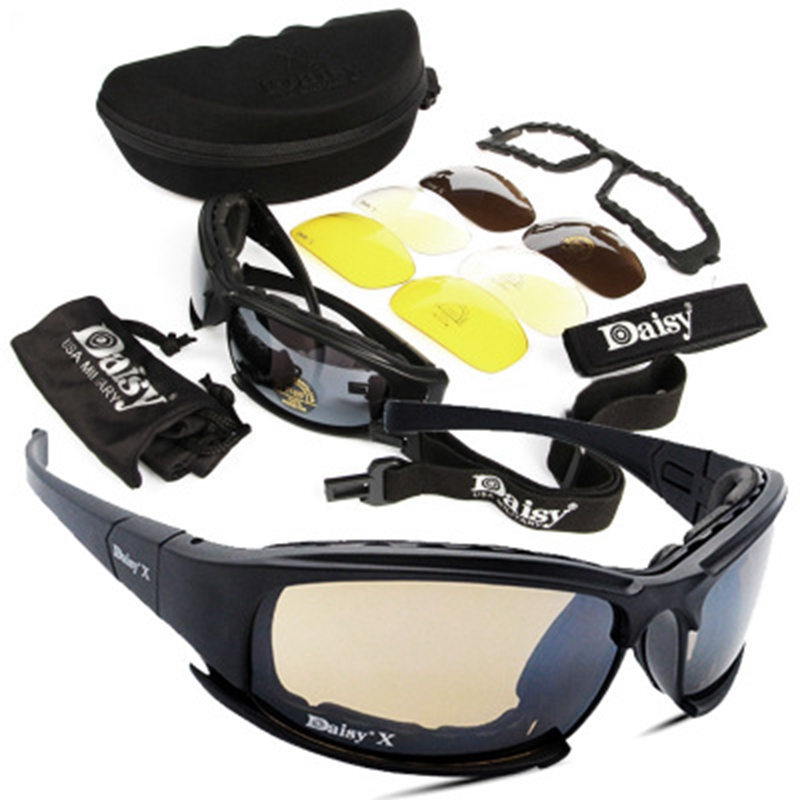 цена на Tactical D a i s y Glasses Military Goggles Army Sunglasses With 4 Lens Original Box Men Shooting Eyewear Gafas