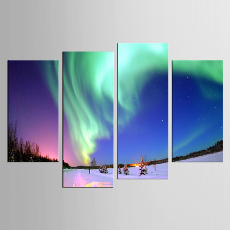 4 pieces set Northern Light Canvas Painting Green Aurora Canvas Picture Modern HD Print Wall Art For in Painting Calligraphy from Home Garden