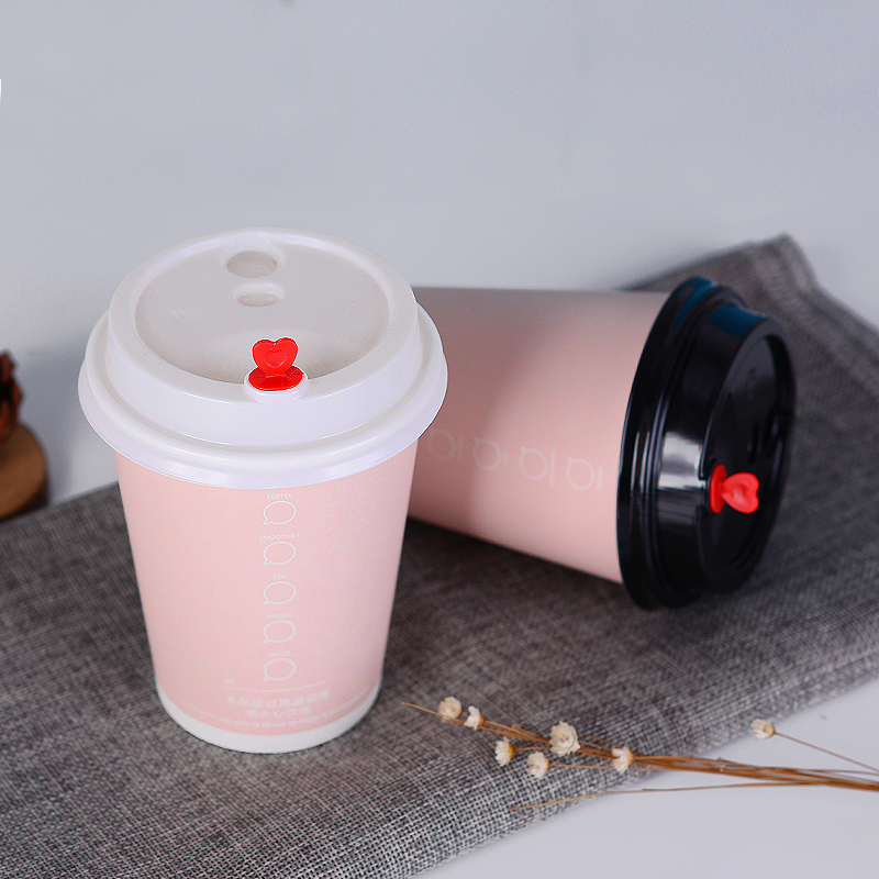 50pcs Pink disposable coffee cup hot drink milk tea thick paper cups with lids commercial household anti-scalding packaging cups