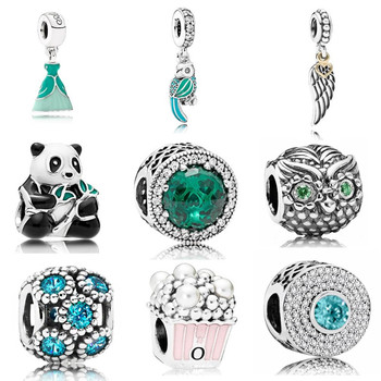 AIFEILI Personality Bead Pendant Necklace DIY Suitable for Pandora Bracelet Women Jewelry European Charm Panda Mickey Green