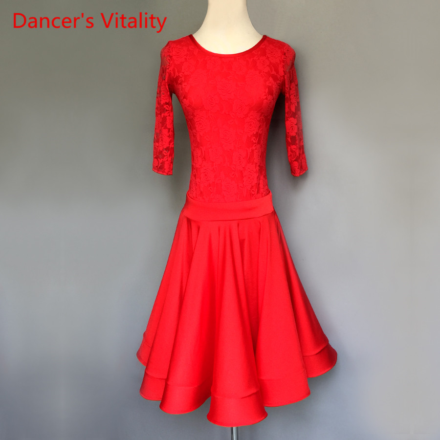 2018 NEW Custom Made Adult/child Latin Dance Dress Haft-sleeved Lace Dresses Women Girls  Latin Rumba Samba Dance Costume Dress