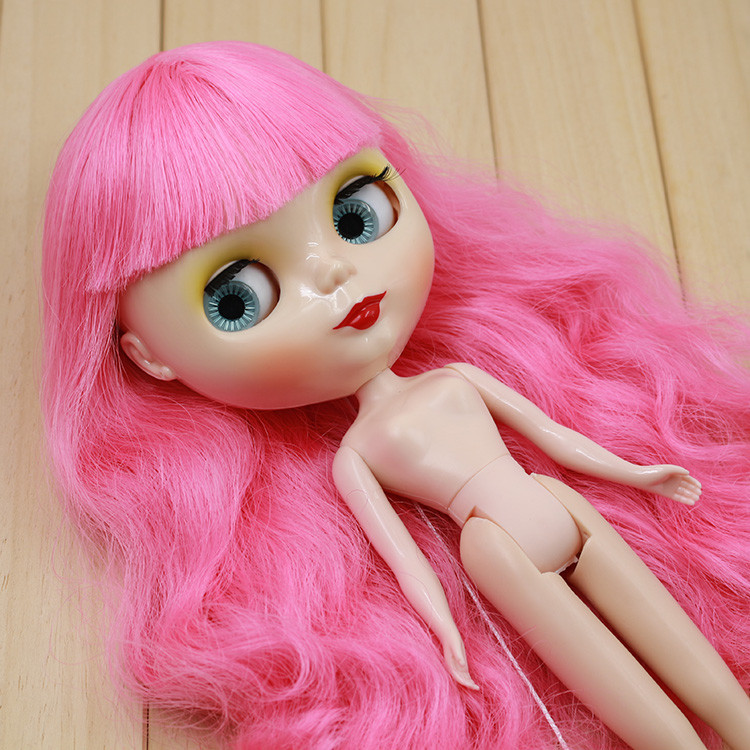 """New Silver Long hair with bang Nude Black Doll jointed body 12/"""" Neo Blythe doll"""