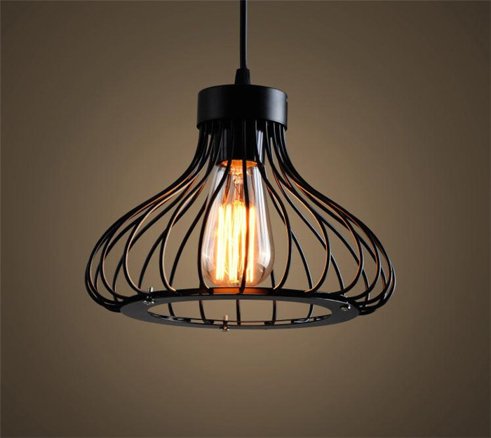minimalism hanging light black wire cage lamp pendant. Black Bedroom Furniture Sets. Home Design Ideas