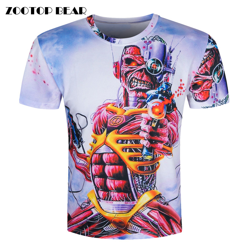 Skull 3D T shirt Print Short Sleeve 2016 Hip Hop T shirt Rock Top Character Funny
