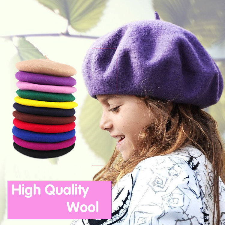 79e380be Korean version of children's Berets in autumn and winter woolen felted hats  for boys and girls