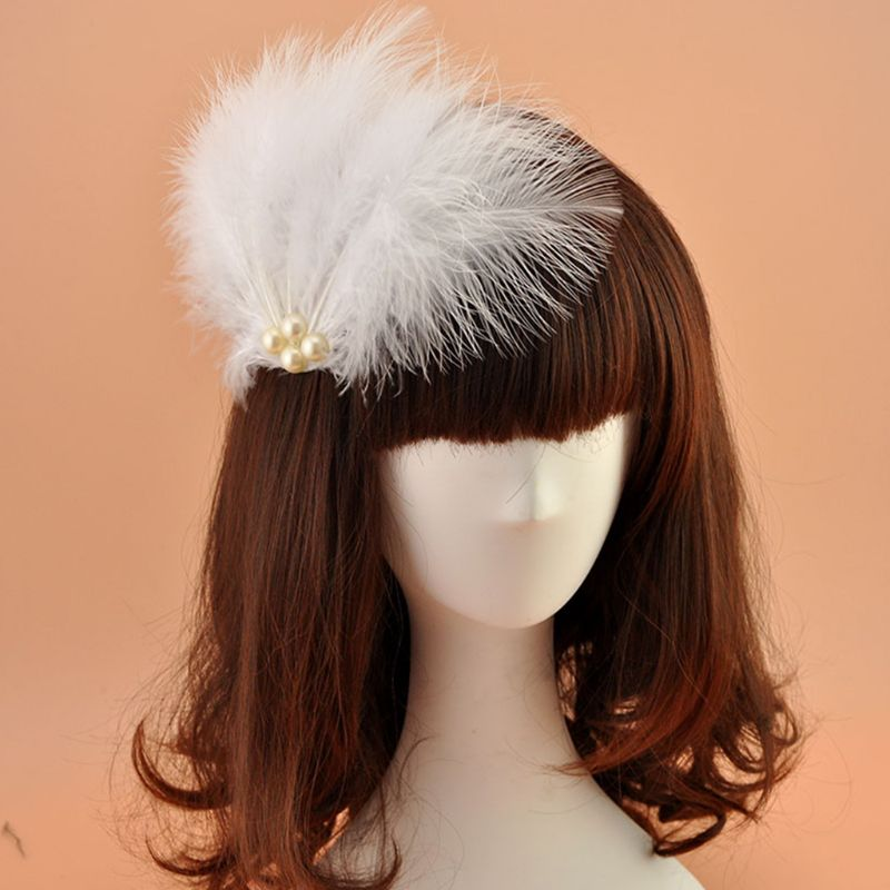 Bridal Headwear Soft Feathers Faux Pearl Beaded Solid Color Alligator Side Cocktail Party Ballet Dance Hair Ornament Gai