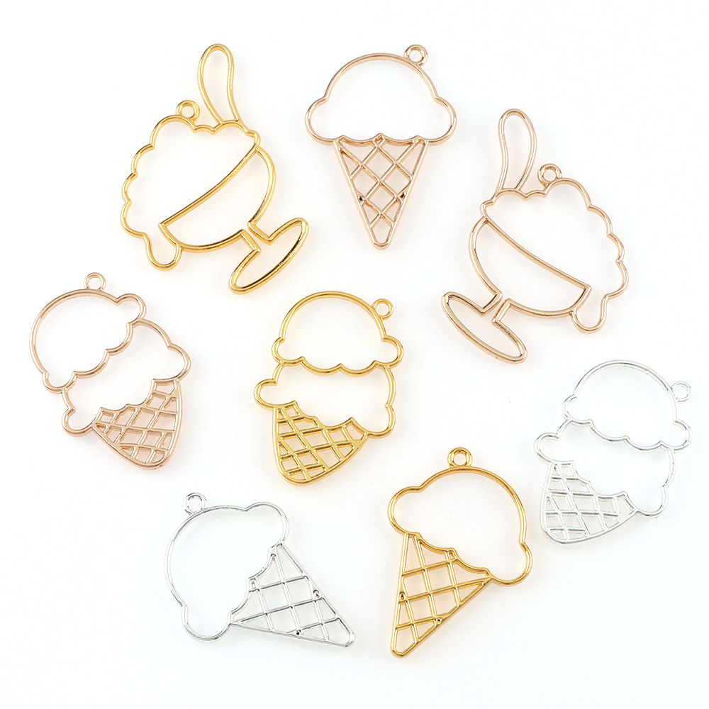 цена на 3pc/set Gold Sliver Rose Color Metal Frame Pendant Mix Food Ice Cream Charm Bezel Setting Cabochon Setting UV Resin Charm