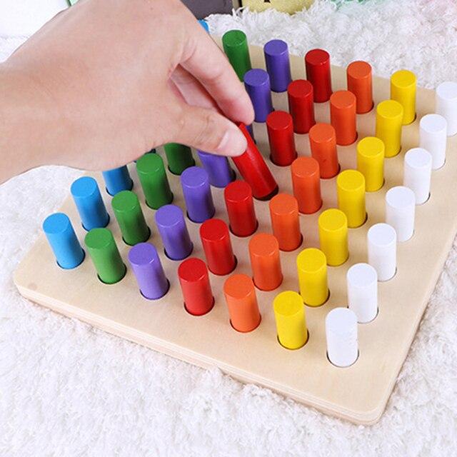 Juegos Educativos Bloques De Toma De Cilindros De Madera Juguetes De Matematicas Para Ninos 1 2 3 Anos De Edad Materiales Montessori Juguetes