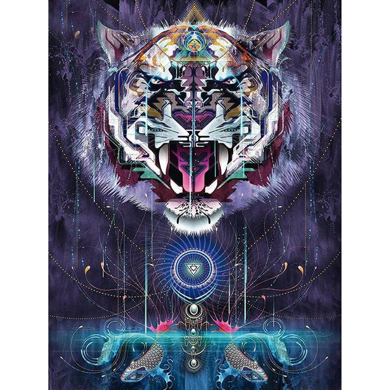 Full Square/Round drill 5D DIY Diamond embroidery Aggressive tiger Diamond Painting Cross Stitch Rhinestone Mosaic decor H691