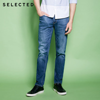 SELECTED Men's Cotton blend Slight Stretch Whiskers Wash Effect Slim Fit Jeans C|418132525