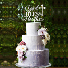 God Bless Cake Topper, Baptism Cross Christening  Communion decor,
