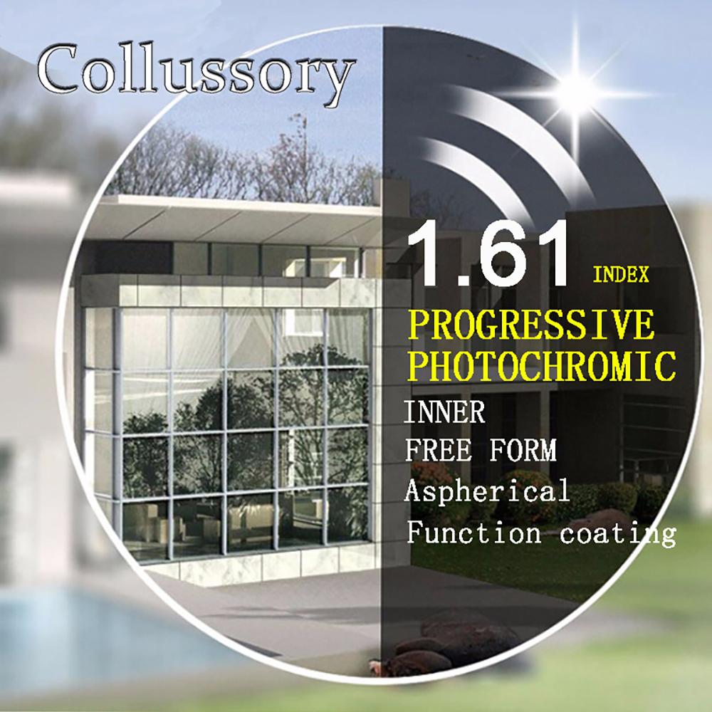 1 61 Index Aspherical Optical Free Form Progressive Photochromic Gray Prescription Reading Lenses Multifocal Bifocal Thin