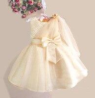 6 Color Ribbon Bow 2Y 8Y White Flower Girl Tutu Dress For Birthday Photo Wedding Party