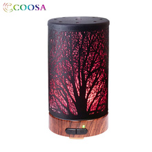 COOSA 7 Color Changing Essential Oil Diffuser 100ml Metal Case Air Humidifier Tree Shadow Ultrasonic Aromatherapy