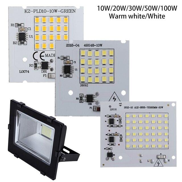 1 PC SMD2835 Contas Chip IC Inteligente 220 V Entrada 10 W 20 W 30 W 50 W 100 W lâmpadas LED DIY Para Holofote Ao Ar Livre Branco Frio Branco Quente