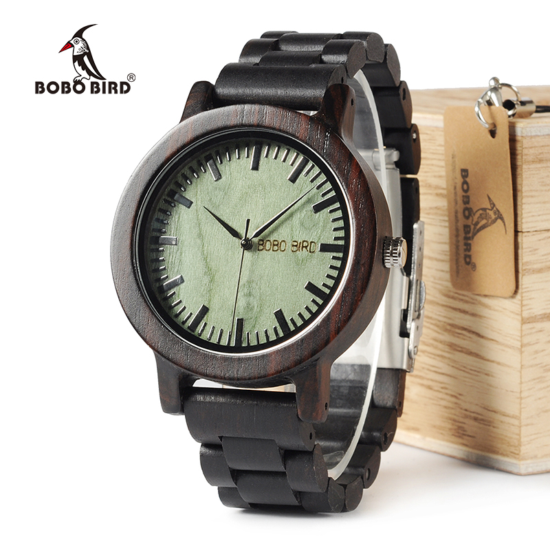 BOBO BIRD WM04 Brand Designer Watches For Men Women Ebony Wooden Quartz Watch Wood Band Fashion Wristwatches