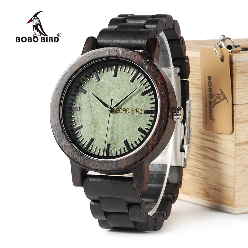 BOBO BIRD WM04 Brand Designer Watches for Men Women Ebony Wooden Quartz Watch Wood Band Fashion Wristwatches ebony wood sunglasses men brand designer fashion polarized sun glasses with bamboo box z68020