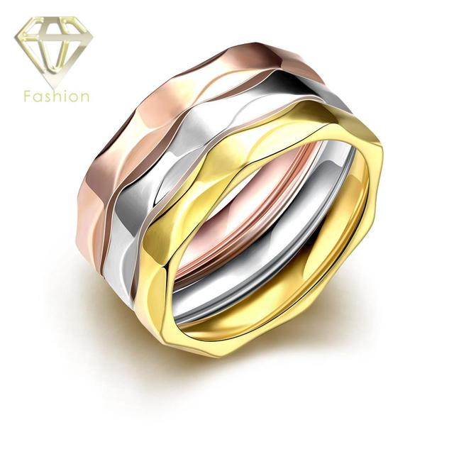 Fake Wedding Rings Multi Layers RoseWhite Gold Color 316L