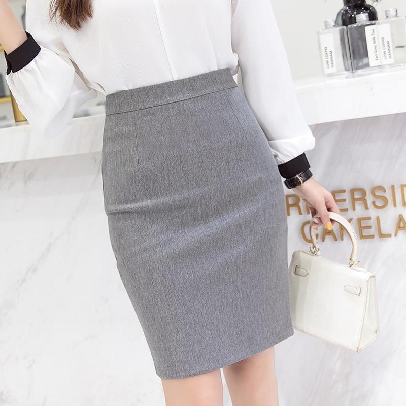 Skirts Womens Women High Waist Elastic Bodycon Skirts Sexy Women Solid Pencil Skirt Plus Size Office Lady Work Midi Skirt Faldas