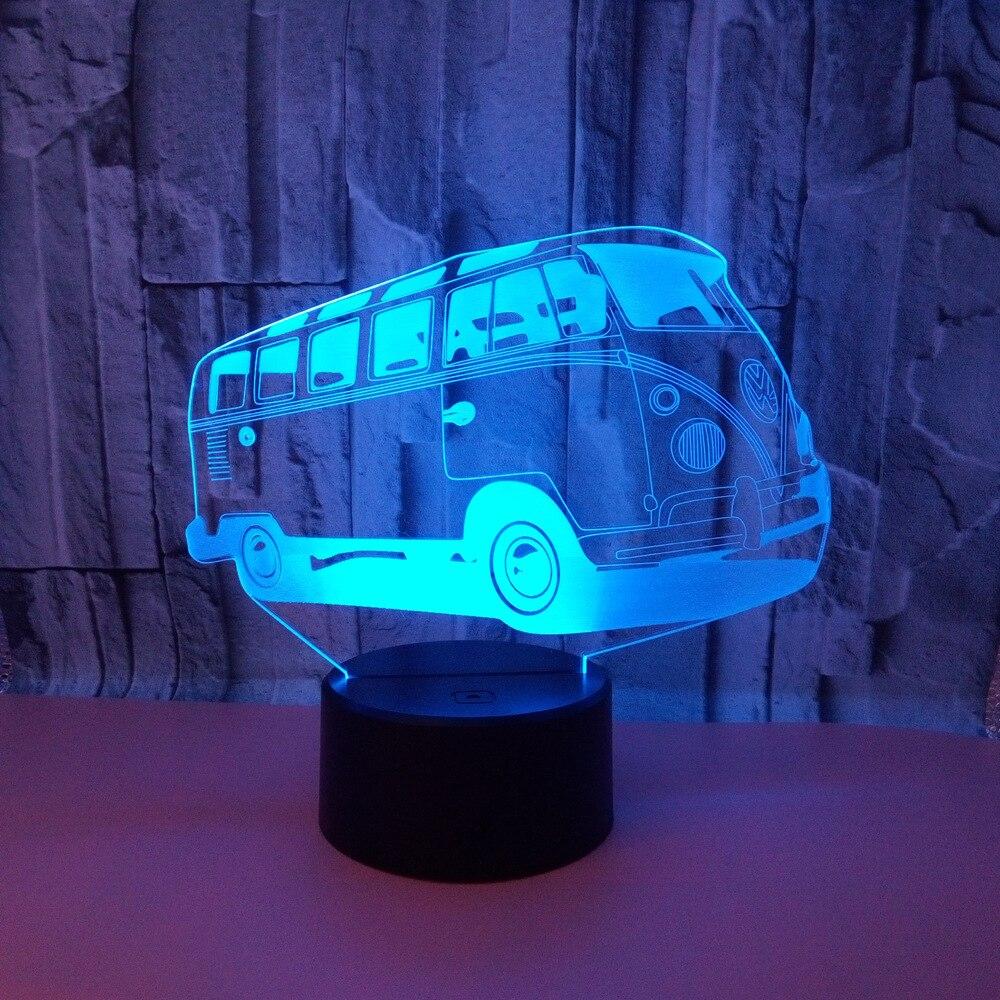 Sıcak Satış 3d Görüş Lambası Otobüs Dokunmatik Led Akrilik Usb Led Gece Lambası çocuk odası dekorasyon 3D gece lambası|LED Gece Lambaları|   -