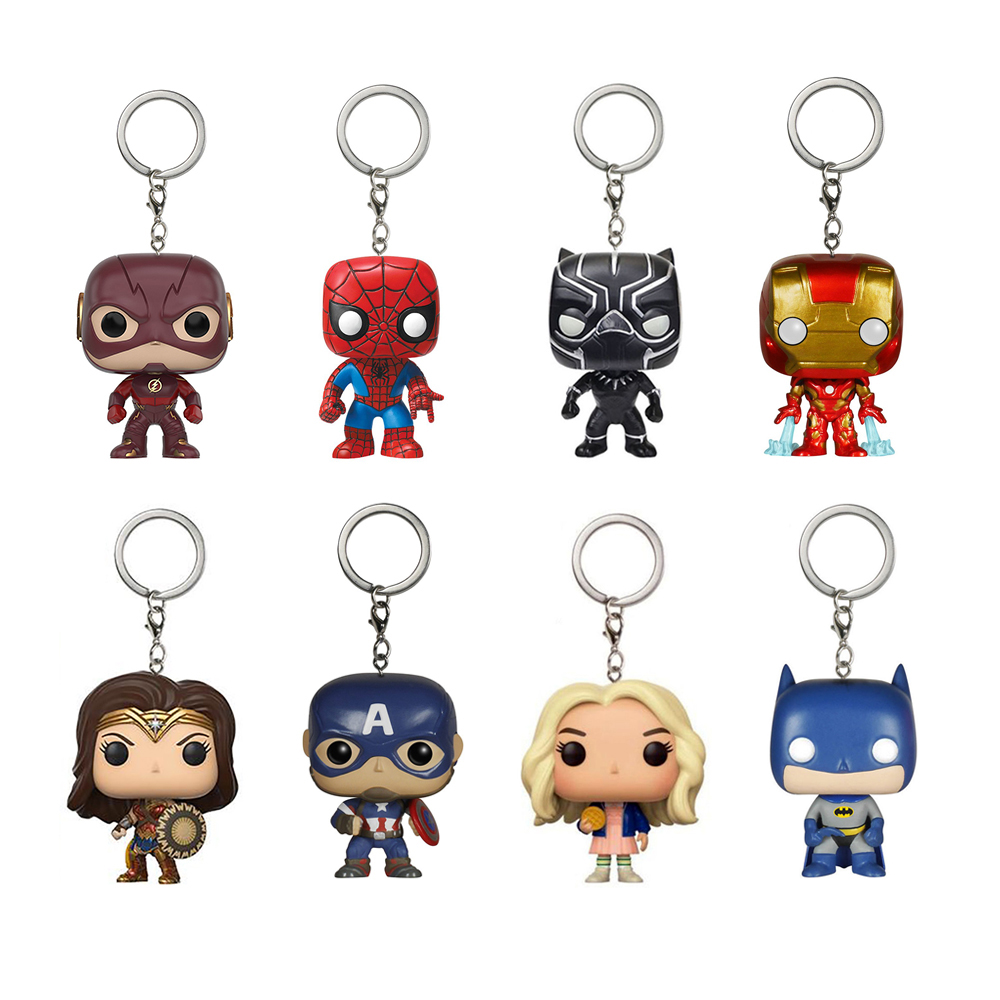 все цены на Funko Pop Keychains Marvel Captain America Iron Man Key Ring Zinc Alloy Car Key Chain Groot Key Fob Bag Pendant Jewelry SP1470