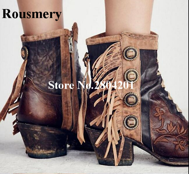 Rousmery Vintage Tassel Metallic Rivet Studded Embroider Ankle Boots Chunky Heel Round Toe Stage Street Dress Shoes Women все цены