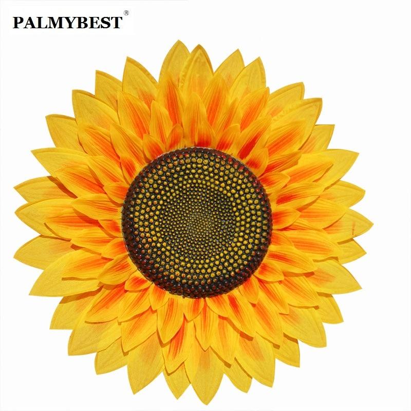Stor størrelse kunstig silke solsikke gul polyester blomst til Home - Fest utstyr - Bilde 2
