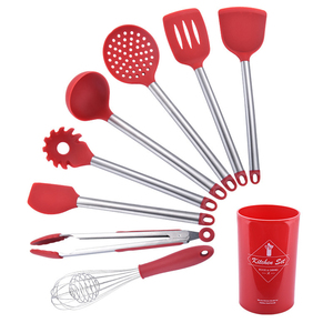 Image 1 - Stainless Steel+Silicone Cooking Utensil Kitchen Tools Turner Soup Spoon Strainer Pasta Server Egg Beater Spatula Food Tongs Red