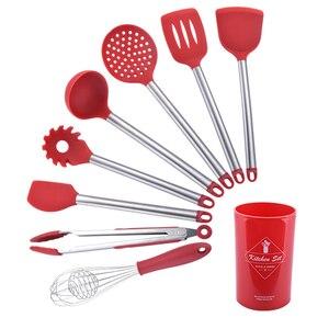 Image 1 - Utensilio de cocina de acero inoxidable + silicona, espátula, tensores, cuchara para sopa, colador, servidor de Pasta, batidor de huevos, pinzas para alimentos, Rojo