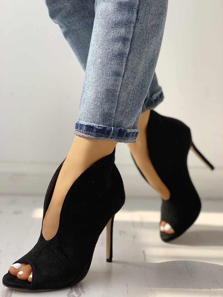 LAPOLAKA 2019 Peep Toe V-Hình Dạng Cắt Ra Mắt Cá Chân Khởi Động phụ nữ 11 cm cao gót sexy bên của phụ nữ giày nữ khởi động mùa hè