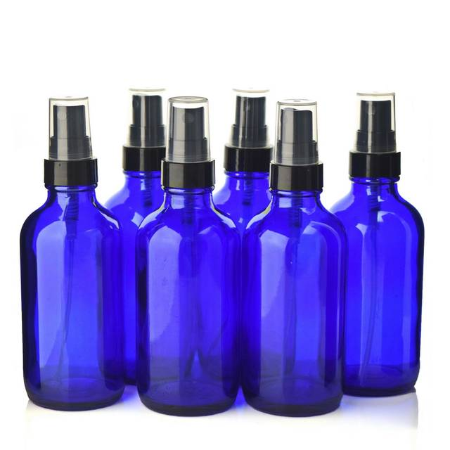 9be6934d58a9 US $18.99 24% OFF|6 X 120ml Empty Refillable 4 Oz Cobalt Blue Glass Spray  Bottle w/ fine mist sprayer pump for essential oils aromatherapy perfume-in  ...
